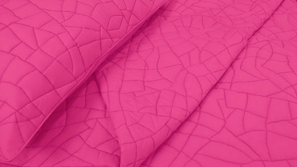 Pink Brick Pattern Quilted Bedding Coverlet Set - TATVAKALA Home