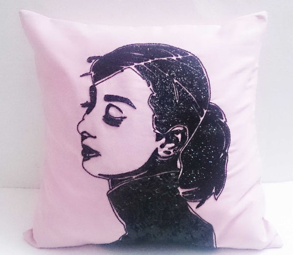 Audrey Hepburn Sequins Pink Pillow-16x16 inches - TATVAKALA Home