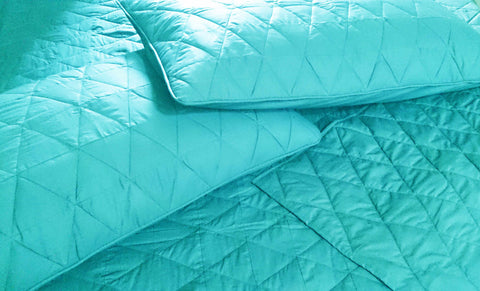 cotton bedspread surf blue triangle queen quilted bedspread ,bedding coverlet machine stitched pattern contemporary quilt modern bedspread - TATVAKALA Home