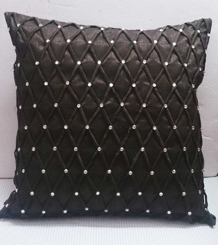 modern decorative pillow-chocolate brown zig zag diamond pleated origami triangle  cushion-home decor-accent pillow-hand sticthed pillow - TATVAKALA Home