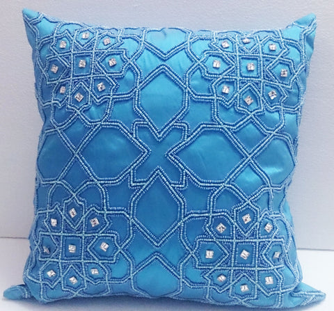 Blue Kilim Pillow-16x16inches - TATVAKALA Home