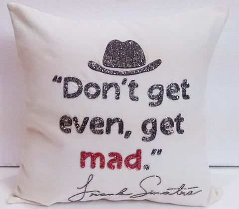 offwhite beige and silver pillow and cushion Frank Sinatra quotes cushion sparkle hats cushion meditation cushion inspiration silk cushion - TATVAKALA Home