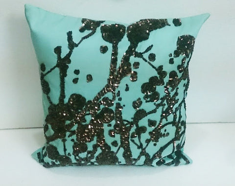 Blotch design sequins pillow-16x16 inches - TATVAKALA Home
