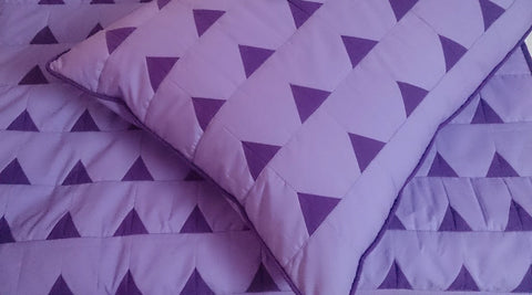modern lavender dark purple  triangle california King size quilted coverlet ,bedding coverlet machine stitched pattern contemporary quilt - TATVAKALA Home