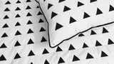 modern black an white triangle queen size quilted coverlet ,bedding coverlet machine stitched pattern contemporary quilt - TATVAKALA Home