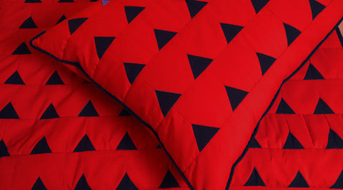 modern red and black triangle california King size quilted coverlet ,bedding coverlet machine stitched pattern contemporary quilt - TATVAKALA Home