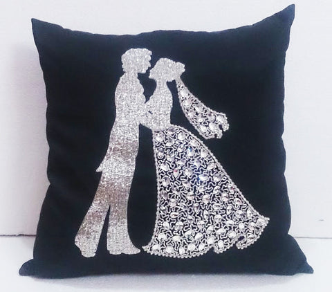 Black Silk Crystal Wedding Pillow-16x16 inches - TATVAKALA Home