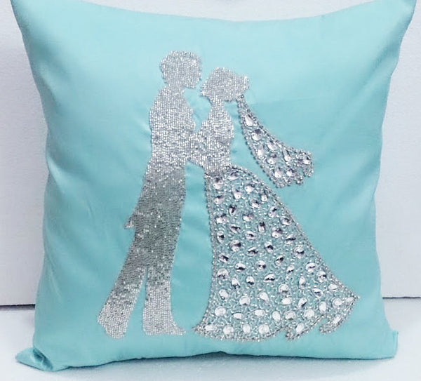 Aqua Blue Wedding Silhoutte pillow-16x16 inches - TATVAKALA Home