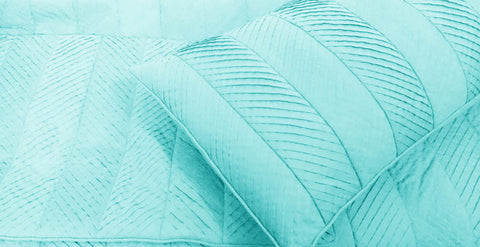 skyblue, pleated cal king size coverlet,114x120inches with pillows 20x36 inches,modern bedding ,solid colour bedding,home decor - TATVAKALA Home