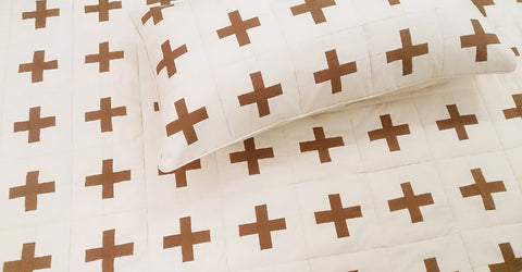 modern beige natural an brown cross plus patchwork geometric queen size quilted coverlet, machine stitched pattern contemporary quilt - TATVAKALA Home