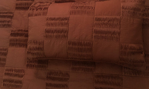 chocolate brown, pleated patchwork cal king size coverlet,114x120inches with pillows 20x36 inches. - TATVAKALA Home