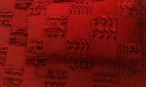 scarlet red, pleated patchwork cal king size coverlet,114x120inches with pillows 20x36 inches,stitching texture,solid colour bedding - TATVAKALA Home