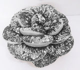 "silver sequins rose glamour pouf/cushion/pillowin the size 18""x18"",decorative handmade pillow,bed pillow,home decor,acent pillow,homefashion - TATVAKALA Home"