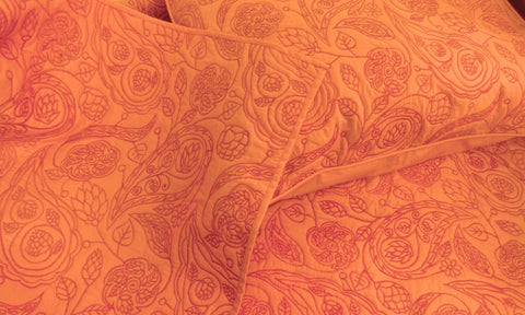cotton bedspread orange modern paisley pattern quilt King size bedspread bedding coverlet,luxury bedding,beautiful designer bedding - TATVAKALA Home