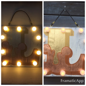 Custom Light Up Signs, Alphabet Signs, Painted Signs, Gold, Copper, Personalized Night Light, Christmas Gifts, Gifts for Children