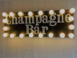 Hand Painted Light Up Champagne Bar Sign for Weddings, Parties and Events