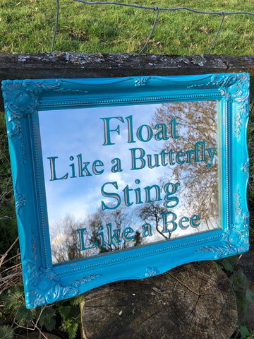 Hand Painted Mirror, Vintage Mirror Frame, Hand Lettering, Reverse Painted Mirror, Copper and Teal Mirror, Float Like a Butterfly Mirror