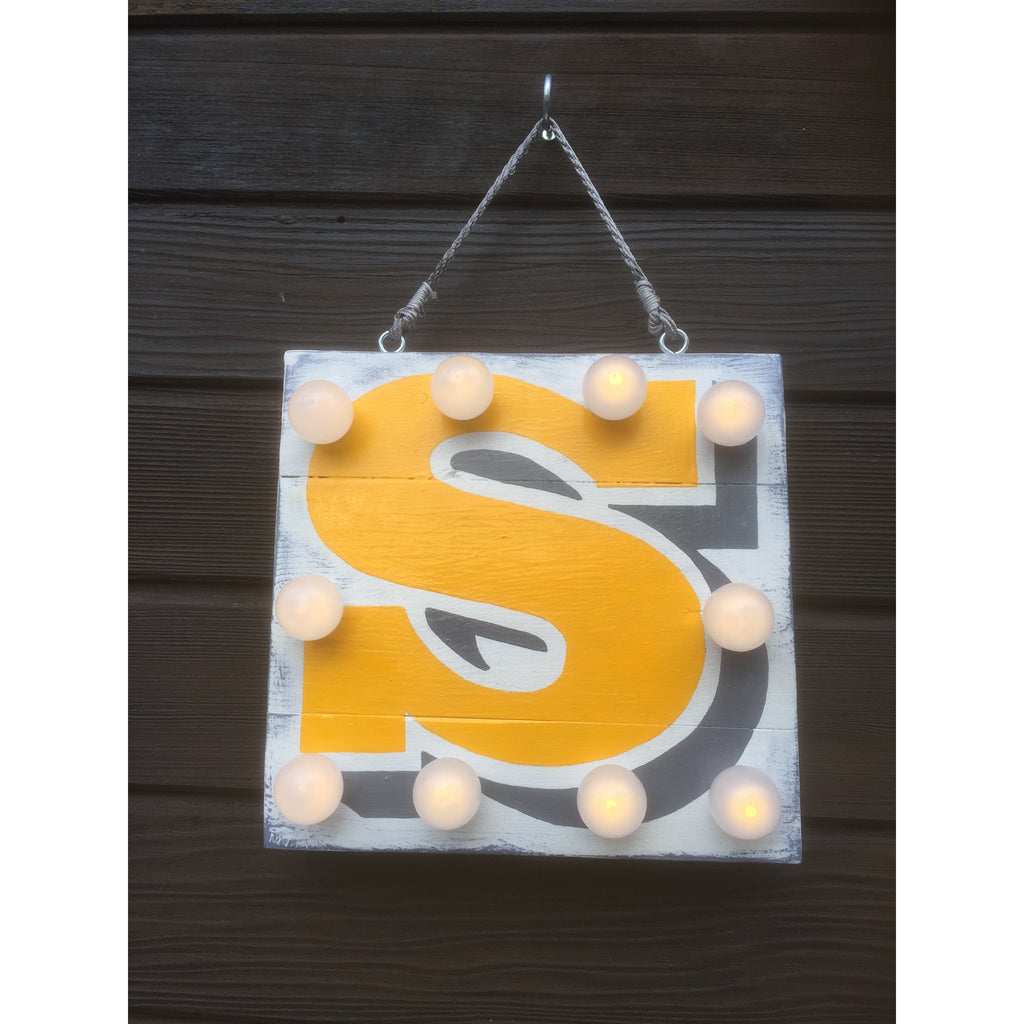 Light Up Sign, Light up Letters, Alphabet Sign, Yellow, Grey, Christening Gift, New Baby, Children's Decor, Nursery Interior, Fairy Lights, Playroom Decor, Wedding Signs, Gifts for Children, Night Light, Personalized Night Light
