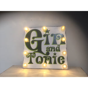 Light Up Gin Sign, hand painted wood sign, gift for gin lovers, Gin Festivals Sign, retro art, kitchen decor