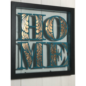 Teal and Copper Home Sign, Reverse Painted on Glass Acrylic, Gilded with Copper Leaf in a Deep Black Frame.  Housewarming, Wedding, Friend Gift, Handmade in the UK.