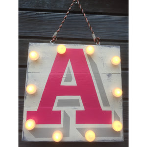 Light Up Sign, Light up Letters, Alphabet Sign, Pink, Grey, Christening Gift, New Baby, Children's Decor, Nursery Interior, Fairy Lights, Playroom Decor, Wedding Signs, Gifts for Children, Night Light, Personalized Night Light