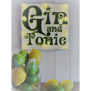 Light Up Gin Sign, hand painted wood sign, gift for gin lovers, retro art