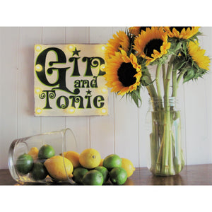 Light Up Gin Sign, hand painted wood sign, Gin and Tonic, Craft Gin, gift for gin lovers, retro art, kitchen decor