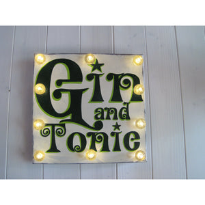Light Up Gin Sign, hand painted wood sign, gift for gin lovers, retro art, kitchen decor