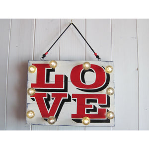 Light up Love Sign, Reclaimed wood Art, Light Up Wall Art, Fith Anniversary Gift, Light Up letters, Handpainted Signs, painted Wood Signs, Custom Signs for Home