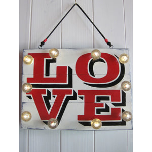 Hand painted Light Up Love Sign, lighted signs on reclaimed wood, anniversary gift, 5th anniversary wood gift, wooden love sign