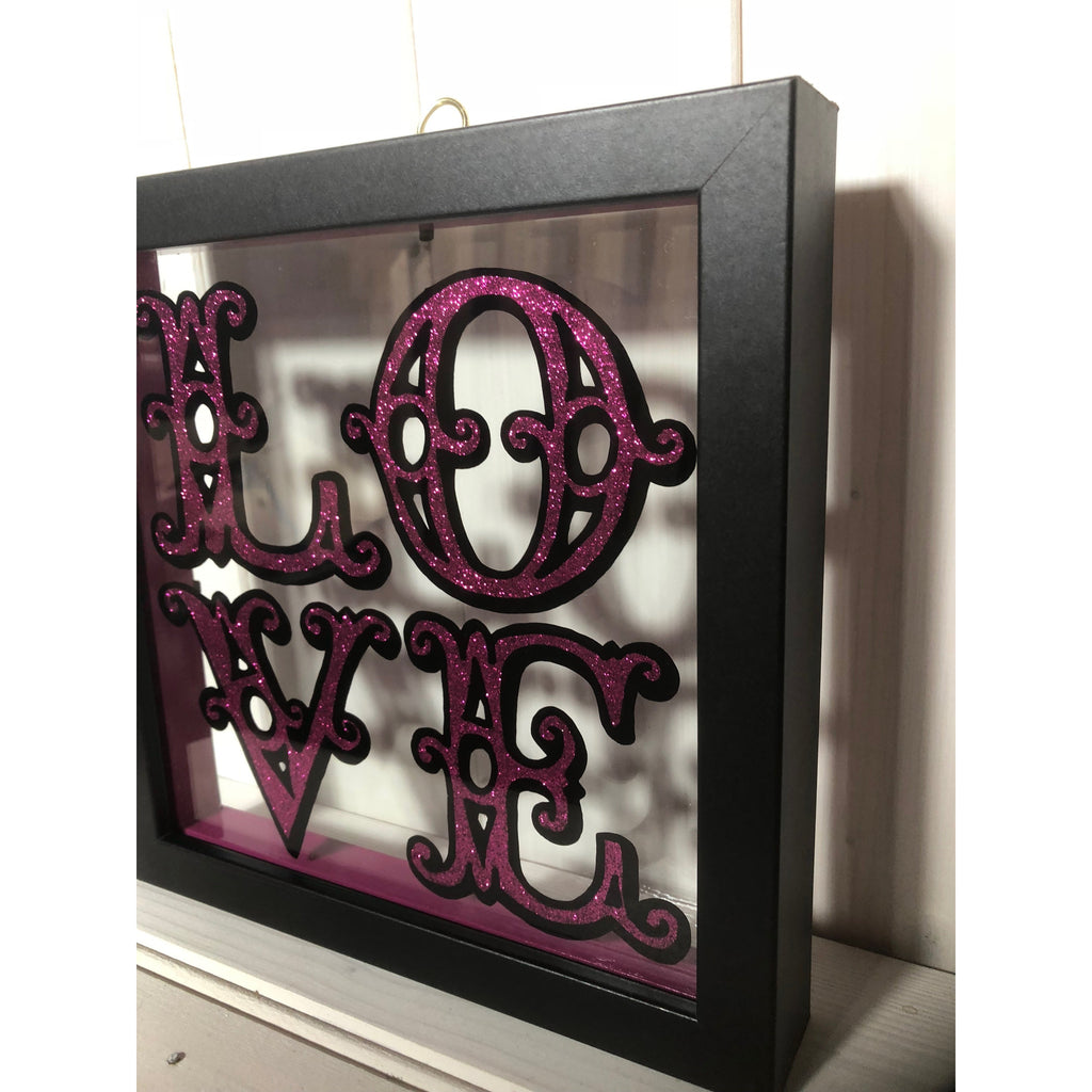 Framed Love Sign hand painted on glass in pink and black, framed art. personalised sign art, housearming gift, engagement wedding present