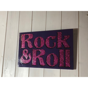Rock and Roll painted sign, reclaimed wood art, wall hanging, sign art, bedroom interiors, Christmas Gift for Friends