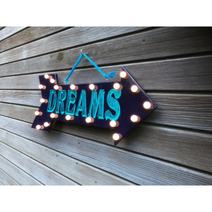 Light up Dreams Arrow Sign Art, reclaimed wood art, battery lights, night light, Arrow Signage, Art, Wall Hanging, Bedroom Wall art