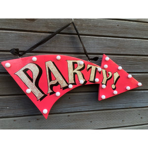 Event Signs, Party Arrow Sign, Light up Arrow Signs for Parties, Signage, hand painted arrow signs, custom sign art, personalised signs