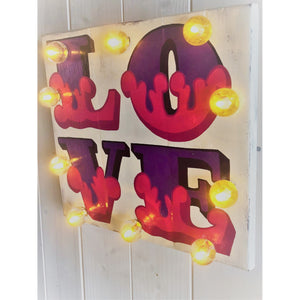Love Sign Hand painted on reclaimed wood lights up with soft white battery lights, Love painted in Graffiti Style perfect Valentines Decor Gift