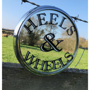 Petrol Head Round Painted Mirror Framed in a Chrome Headlight Rim, Heels and Wheels Rockabilly Hot Rod Mirror Sign