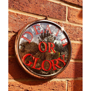 Hand painted mirror with Death or Glory in red and gold, gilded, framed with a vintage head light rim, the perfect gift for a biker, petrol head, classic racing car fan, personalised mirrors, hand painted sign art