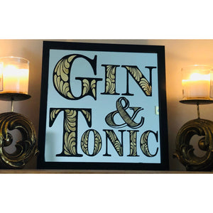 Hand Painted Gin and Tonic Mirror Painted in Black and gilded with 23dt gold leaf, Gin Mirror, Bar Mirror, Cafe and Bar Interior, reverse painted gilded gin mirror