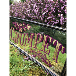 Hand painted crumpet mirror in pink purple, gilded in gold leaf framed in a vintage black and gold frame