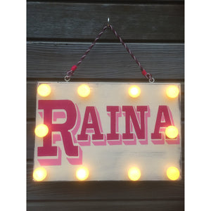 Light Up Name Sign, hand painted light up sign, children's door sign, nursery decor, playroom decor, personalised night light, christening gift, fairy lights, reclaimed wood wall art, tango & twist, Tango and Twist