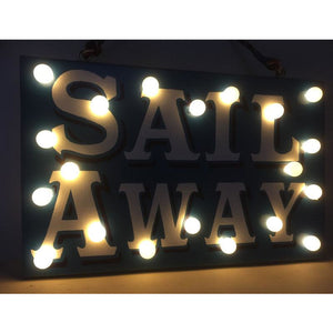 Light up sign hand painted on reclaimed wood in retro style, Sail Away, gifts for sailors, nautical gifts, boat decor, good luck gifts, vintage wall hanging, present for girlfriend boyfriend, best friend gift, interior decor, custom wood signs, fairy lights, custom painted light up sign, Tango & Twist, Tango and Twist
