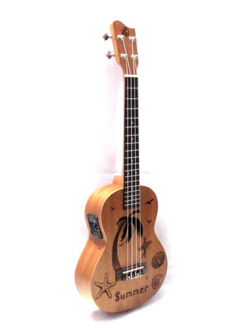 Grape Tenor Engraved top Summer Pattern Mahogany Electric/acoustic Ukulele GKT45BE