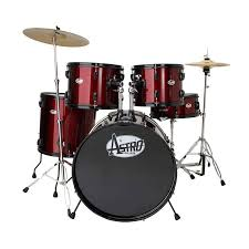ADW 5 piece drum kit with cymbals and stands Red