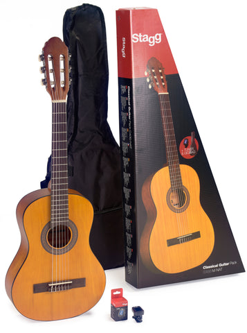 Stagg 1/2 , 3/4 and 4/4 size classical guitar pack, includes guitar,bag and tuner