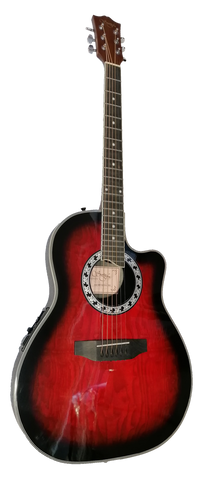 Santa Fe roundback acoustic/electric guitar wine red