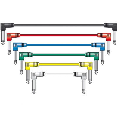 chord 1M Angle jack to Angle jack patch cables set of 6 in different colours
