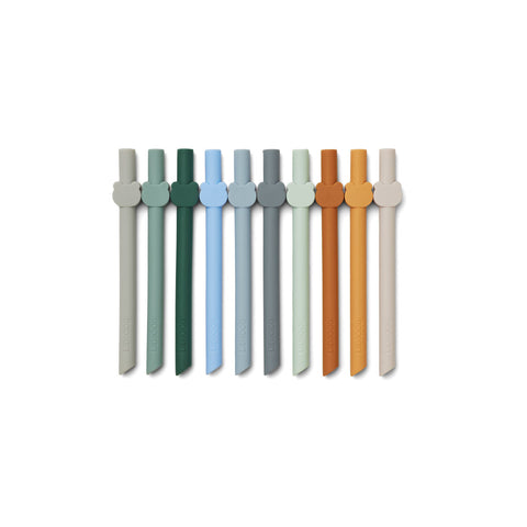 Liewood Badu straw 10-pack - Blue wave multi mix - Tableware