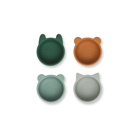 Liewood Malene Silicone Bowl 4 Pack Tableware 7346 Green multi mix