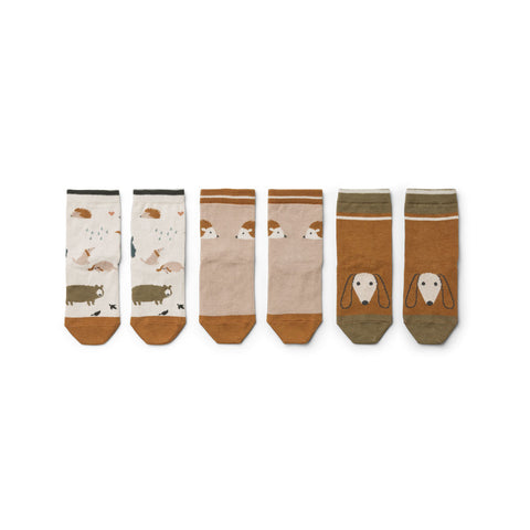 Liewood Silas Cotton Socks 3 Pack - Friendship sandy mix - Socks & stockings