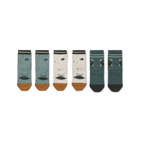 Liewood Silas Cotton Socks 3 Pack - Space blue mix - Socks & stockings